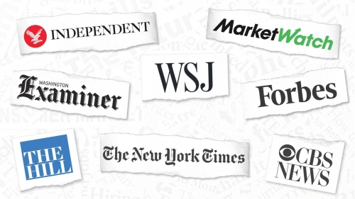 Graphic of eight news outlet logos